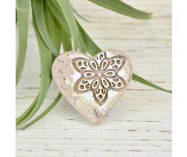 "Liquid Sculpey® Greige Granite ""Heart of Stone"" Broach"