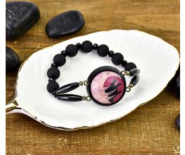 Garnet, Rose Gold & Black Cabochon Stretch Bracelet