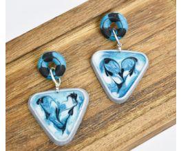 Swirly Triangle Earrings Created with Liquid Sculpey®