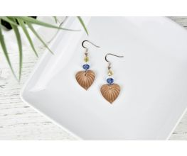 Copper Leaves Earrings with blue and yellow detail