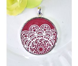 Liquid Sculpey® Garnet Metallic and Pearl Mandala Pendant