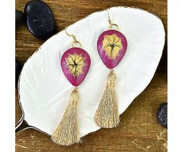 Liquid Sculpey® Garnet Metallic Tassel Earrings