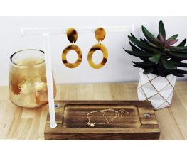 Sculpey Premo™ Amber Faux Tortoiseshell Hoop Earrings