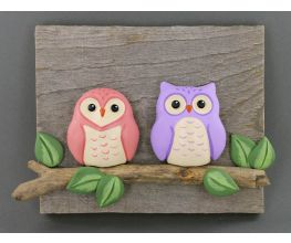 Original Sculpey Reclaimed Wood Owls Plaque