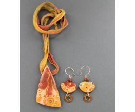 Premo Pumpkin Spice Mokume Gane Jewelry Set