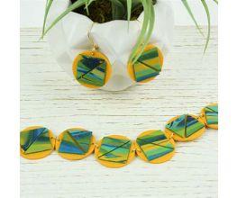 Sculpey Premo™ Marbled Mustard Tiled Bracelet