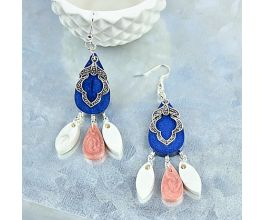 Liquid Sculpey® Metallic Navy, Rose Gold and Pearl Earrings