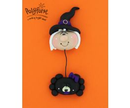 Sculpey® III Witch and Spider Dangle Pin