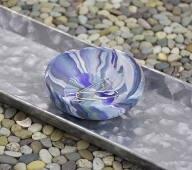 Blue Marbled Coil Dish with paper clips placed in it