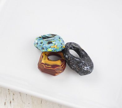 Sculpey PremoTM  Faux Turquoise Faceted Ring