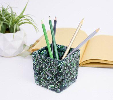Faux Malachite Pencil Jar