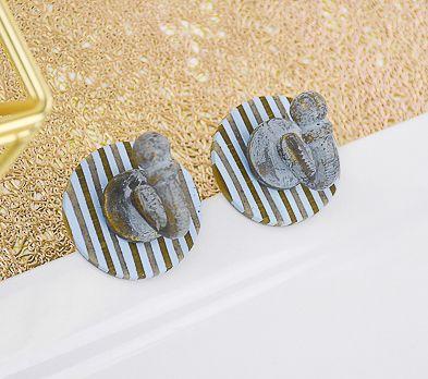 Sculpey Premo™ Pale Blue Striped Knob Backs