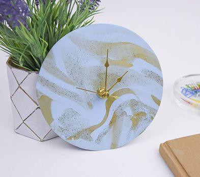 Pale Blue Marbled Clock