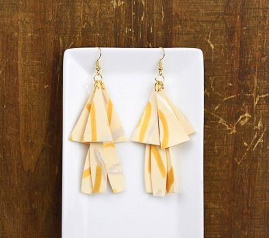 Ivory Geometric 2 Tier Earrings with gold and silver detail