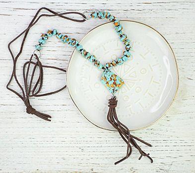 Turquoise Boho Tassel Necklace