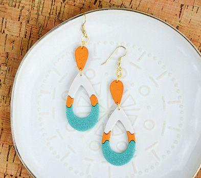 Sculpey III® Turquoise Glitter Teardrop Earrings