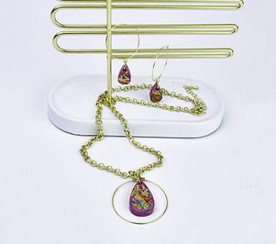 Liquid Sculpey® Foiled Teardrop Pendant & Earrings