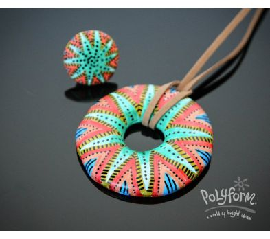Sculpey Souffle Doodle Doughnut Pendant and Ring