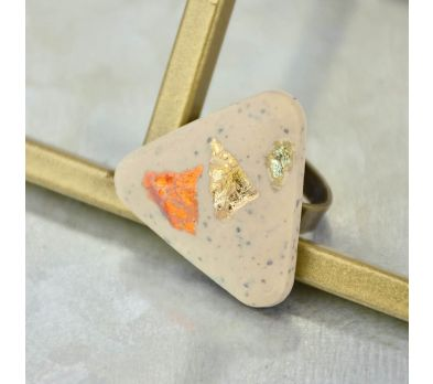 Liquid Sculpey® Greige Granite Foil Trio Ring