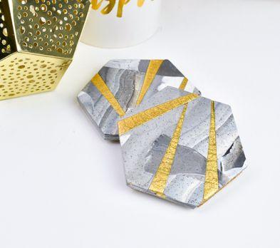 Sculpey Premo™ Granite & Gold Coasters, Set of 2