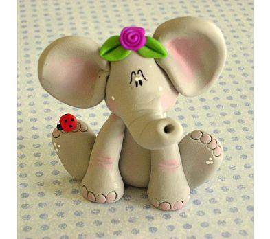 Premo! Spring Elephant with Fuchsia Rose and Ladybug