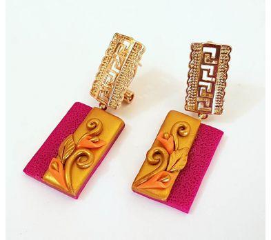 premo! Orange Pink Duo Earrings