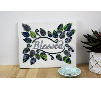 """Sculpey Premo™ Clay and Liquid Sculpey® Team Up to Create a """"Blessed"""" Canvas Wall Hanging"""
