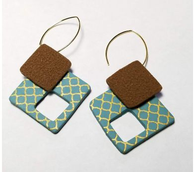 Sculpey III® Silkscreened Square Earrings