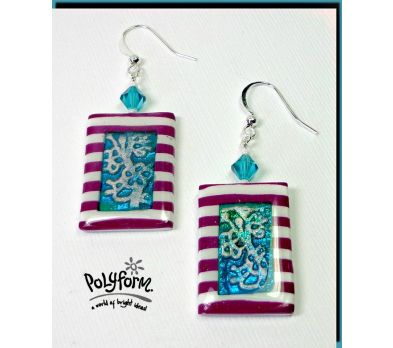 Sculpey Soufflé  Striped Earrings with Jade Inset
