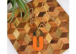 Orange Glittering Arch Pendant
