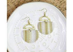 Gold Faux Granite Striped Earrings