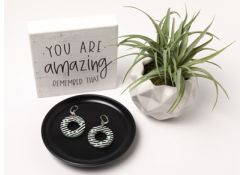 Black and White Striped Pop earrings