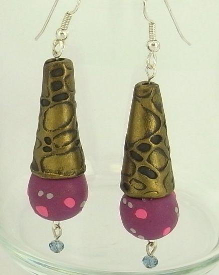Sculpey Soufflé Faux Metal Bead Cap Earrings