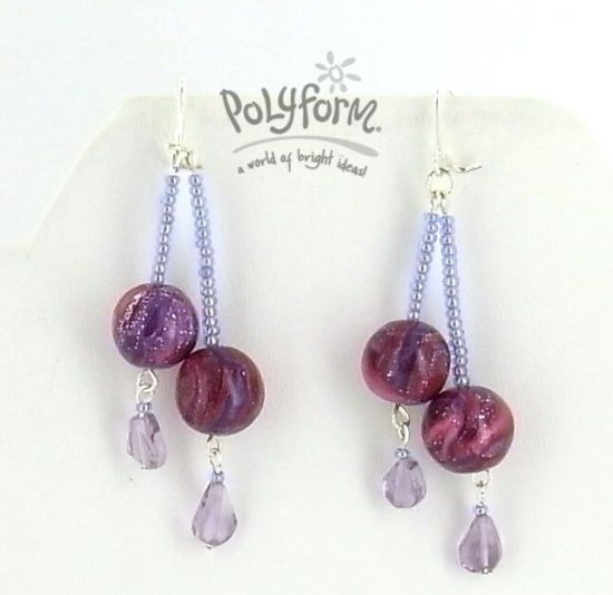 premo! Marbled Double Bead Dangle Earrings