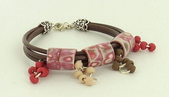 Sculpey Soufflé Leather Bracelet with Polymer Clay Beads