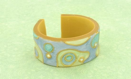 "Sculpey Premo™  Swirled ""Enamel"" Cuff Bracelet"