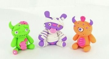 polymer clay little lazies monster figurines