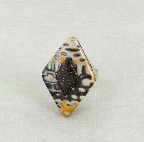 premo! Diamond Mokume Gane Layered Ring