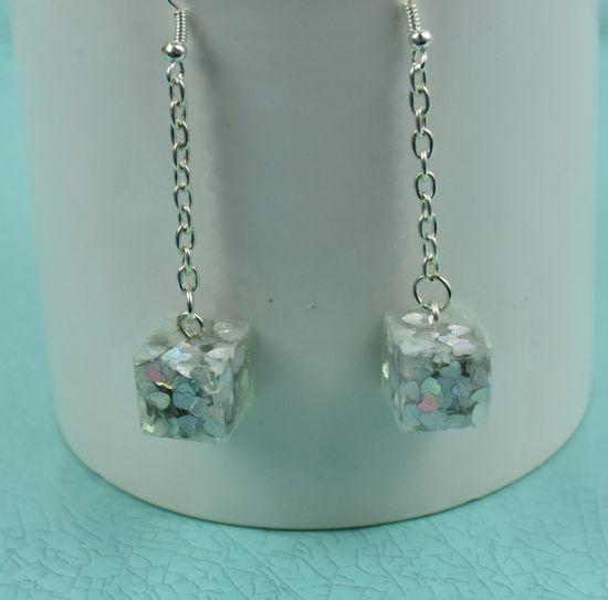Liquid Sculpey Sparkle Cube Earrings