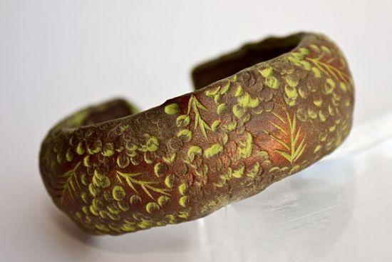 Sculpey Soufflé Carved Leaf Bracelet