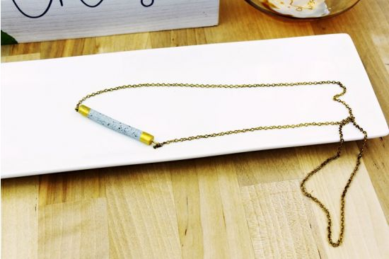 Original Sculpey® Granite Bar Pendant with Gold Finishes