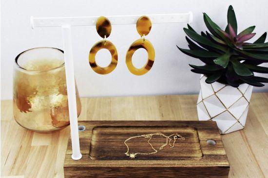 Sculpey Premo™ Amber Faux Tortoiseshell Hoop Earrings