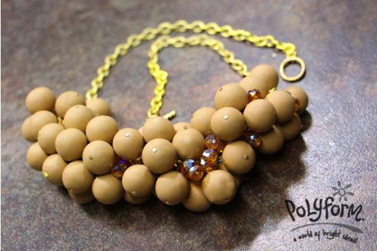 Sculpey Soufflé Latte Ball Necklace