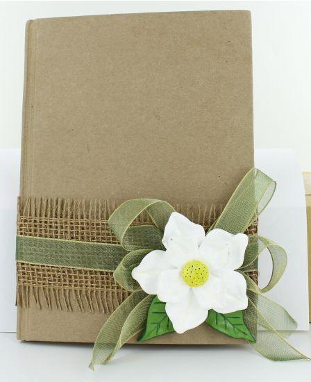 Original Sculpey Magnolia Flower Embellished Journal