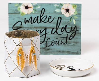 Liquid Sculpey® Amber Feathers Earrings