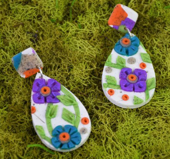 Granite Floral Slab Earrings