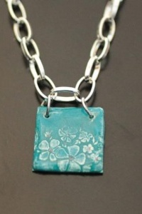 Floral Stamped Polymer Clay Pendant