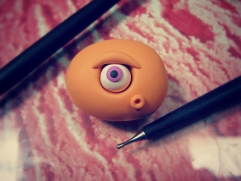 create eye for polymer clay monster orange