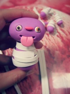 body of polymer clay monster wrapped