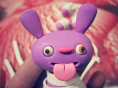 make polymer clay bunny ears for monster